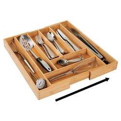 mDesign Cubertero de madera de bambú extensible - Moderno organizador de cocina para cajones - Separador de cajones para cocina, oficina, baño y dormitorio ...