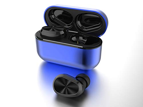 True Wireless Earbuds Deep Bass HD Call Quality, Bluetooth 5.0 IPX7 Waterproof TWS Bluetooth Earbuds, 20H Playtime Built-in Mic In-Ear Earphones Fit iPhone/Android Metal Frosted Charging Case(Blue)
