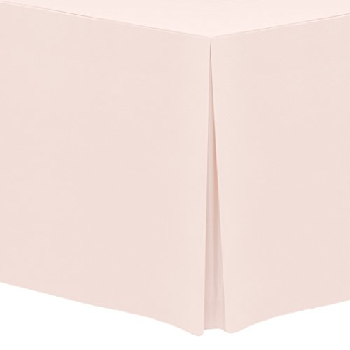 Ultimate Textile 6 ft. Fitted Polyester Tablecloth - Fits 30 x 72-Inch Rectangular Tables, Ice Peach ()