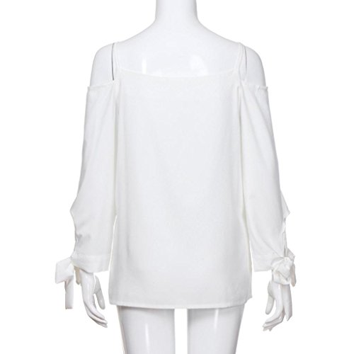 Fluide Femme en Chemisier Longues T paule Blanc Top Shirt Blouse Bringbring Off Manches xxrBdqw
