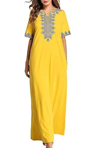 Fensajomon Women Arab Embroidery Ramadan Party Middle East Muslim Maxi Dress Yellow L