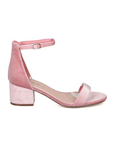 Sandal Dressy Strap Heel Casual GG65 Breckelles Velvet Formal Basic Pink by Sandal Ankle Versatile Chunky qX1qatx4