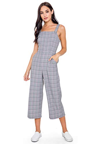 Bebop Women's Windowpane Plaid Sleeveless Menswear Apron Jumpsuit Overalls with Slant Pockets (Black/Pink, Small) - Menswear Plaid Pant