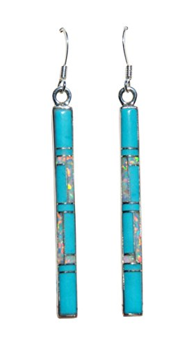 1-5 8 inch Handmade St. Silver Inlaid Stabilized Turquoise Created Opal Stone Staff Earrings