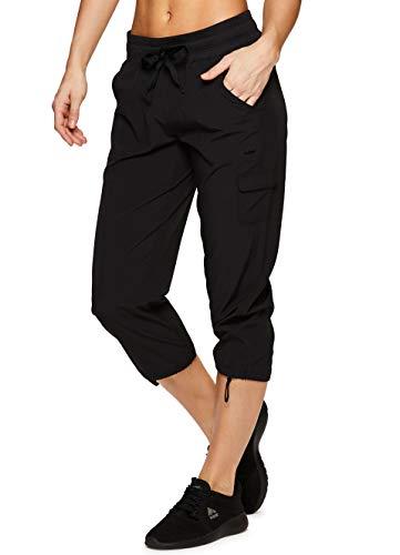 RBX Active Women's Fashion Lightweight Stretch Woven Body Skimming Drawstring Capri Pant