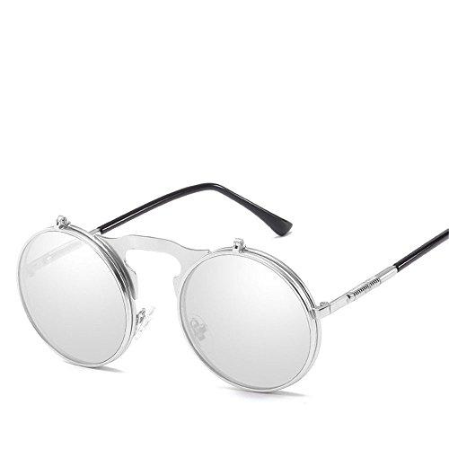 Chahua Lunettes de soleil haute brillance miroir rétro revers d hommes et femmes lunettes de soleil Lunettes de soleil en métal E