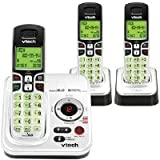 VTech CS6229-3 DECT 6.0 Cordless Phone, Silver/Black, 3 Handsets