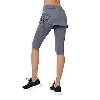 Women's Running Cropped Capri Pants Swim Skirted Sport Leggings Sun Protection s gy Grey
