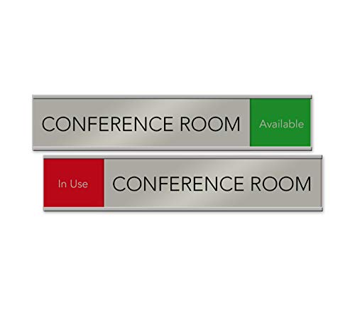 Quality Satin-Aluminum Conference Room Slider Signs - 10 x 2 - Made in The USA (Red/Green)
