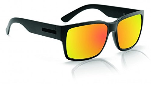 Hoven Mosteez Adult Foundation Polarized Sunglasses, Black on Black/Fire Chrome, One ()