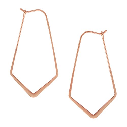 Geometric Chevron Threader Hoop Earrings - Lightweight Cutout Thin Wire Drop Dangles, 18K Rose - 1.5 inch, Pink Gold-Electroplated, Hypoallergenic, by Humble Chic NY
