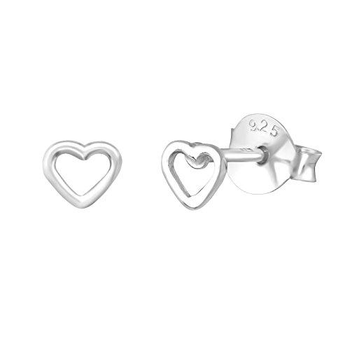 Cute 4mm Open Heart Studs Earrings 925 Sterling Silver Simple Jewelry -SV ()
