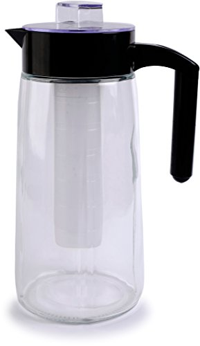 Circleware 66554 H2O Glass Carafe Water Pitcher with Lid, Handle and Ice Tube Core Drinking Dispenser Glassware for Juice and Kitchen & Home Decor Bar Dining Beverage Gifts, BPA Free, 60oz, Chamber