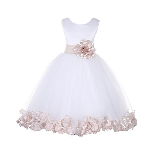 10485891e72 ekidsbridal White Floral Rose Petals Flower Girl Dress Birthday Girl Dress  Junior Flower Girl Dresses 302s 4