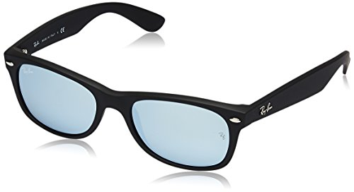 Ray-Ban RB2132 New Wayfarer Mirrored Sunglasses, Black Rubber/Silver Flash, 52 ()