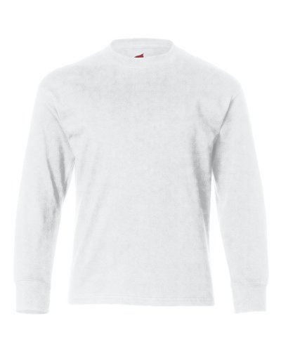 Hanes Big Boy's 6.1 oz. Tagless ComfortSoft Long-Sleeve T-Shirt, White, L