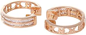 18K Rose Gold with 85 Pieces 0.313 carat Genuine Diamond Hoop Earrings