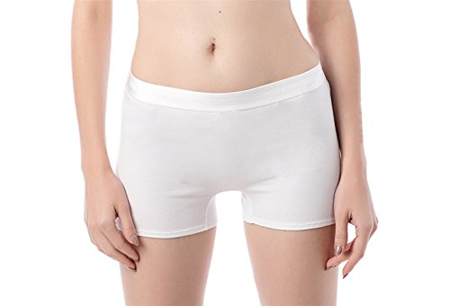 (Dolcevida Women's Cotton Boyshorts Panties Soft Boxer Briefs Underwear (White, M))