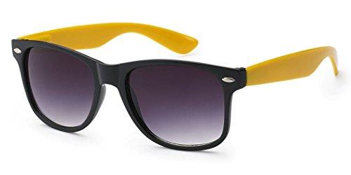Two Tone Retro 80s Fashion Sunglasses with Gradient Smoke Lens Black - Yellow