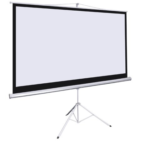 """Manual Pull Down Projection Screen 92-in Diagonal 16:9 Steel Case w/ Adjust Ht. 67"""" to 118"""" Tripod Stand Portable for Home Office Video Projector Panel Retractable"""