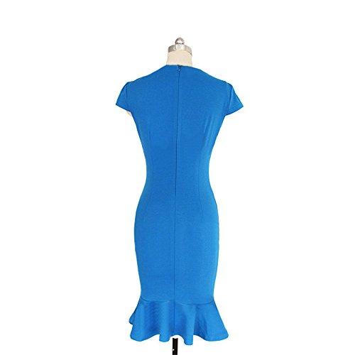 9708bcfd591 Crayon Bodycon Robe Rond Uni Genou Col Soirée Bleu Manches Sans Femme Au  Jothin De ...