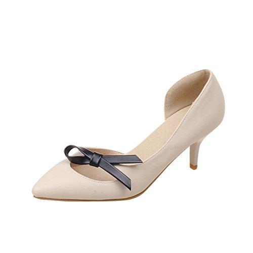 MissSaSa Damen Schleife spitze niedrig Pumps low--cut Pointed Toe Kitten-heel Schuhe Beige