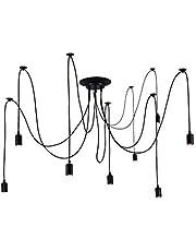 quan di Industrial Loft Chandelier Modern Industrial Dining Light Ajustable DIY Ceiling Spider Light Pendant Lamp-No Bulbs