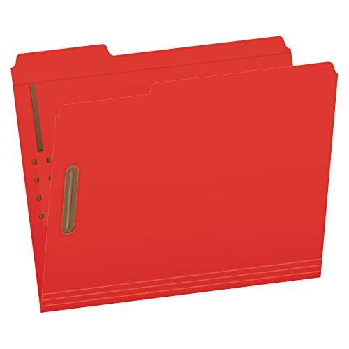 Pendaflex Fastener Folders, 2 Fasteners, Letter Size, Red, 1/3 Cut Tabs in Left, Right, Center Positions, 50 per Box (22740)