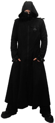 Necessary Evil Marduk Mens Hooded Trenchcoat - Medium - Black