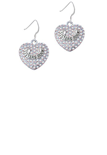 Sisters Rock on AB Crystal Heart - French Earrings (C5202)