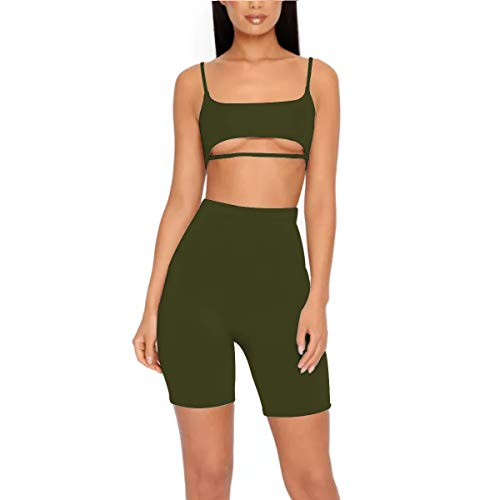 83f30e24eb LUFENG Women s Suit Two Pieces Set Sexy Sleeveless Strapless Crop Top and Shorts  Set