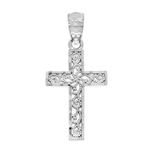 Charm America - Diamond Cut White Gold Filigree Cross - 14 Karat Solid Gold 14k White Gold Cross Charm