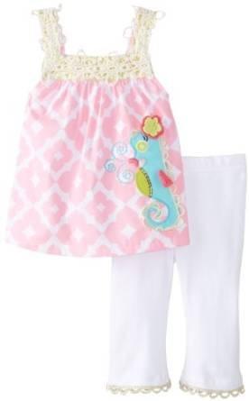 Mud Pie Baby-Girls Newborn Seahorse Tunic and Legging, Pink/White, 9-12 Months (Flap Mud Shirt Girl White)