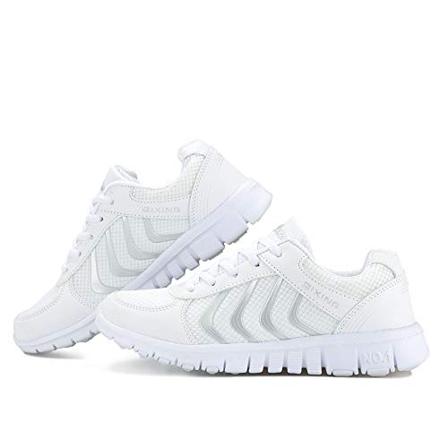DUOYANGJIASHA Women's Athletic Mesh Breathable Casual Sneakers Lace Up Running Comfort Sports Fashion Tennis Shoes White