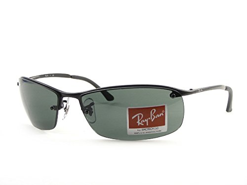Ray-Ban RB3183 Sunglasses 63 mm (63 mm, Black Frame/Green Solid - I Ray Ban