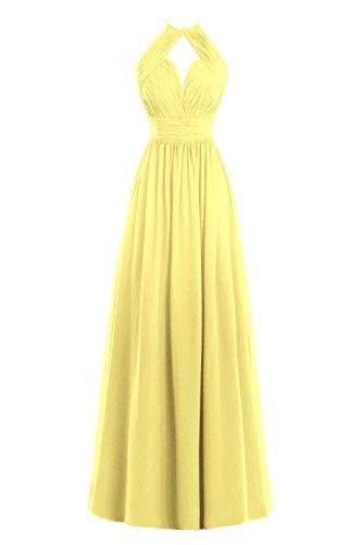 Line Dress Bridal Pleats Chiffon Daffodil Halter Women's Bess Long Bridesmaid A dtzXq
