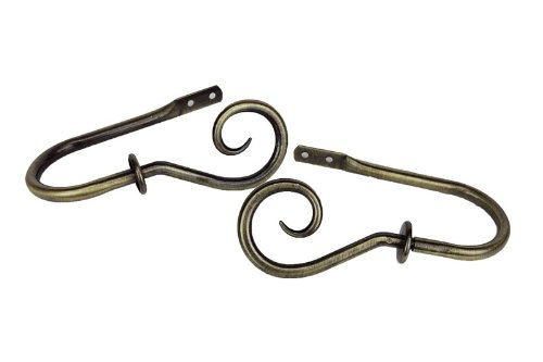 2 1/2' Tall Antique Brass - Modern Curl Holdback / Tieback in Antique Brass (Set of 2)