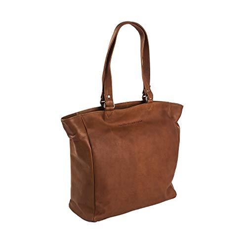 Le sac fourre-tout en cuir Shopper de Berlin de la marque Chesterfield, compartiment pour ordinateur portable de 36 cm de Cognac, Braun