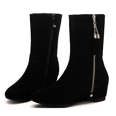 RTRY Zapatos De Mujer Cuero De Nubuck Otoño Invierno Confort Botas Botas De Moda Casual Negro Negro Us5.5 / Ue36 / Uk3.5 / Cn35 US6.5-7 / EU37 / UK4.5-5 / CN37