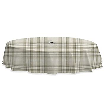 Lovely Reeve Plaid 70 Inch Round Vinyl Tablecloth With Umbrella Hole In Grey