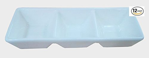 Divided Sauce Dish - Super White 3 Compartment Porcelain Divided Dish (12 Count) OT-4170