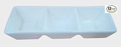 Super White 3 Compartment Porcelain Divided Dish (12 Count) OT-4170