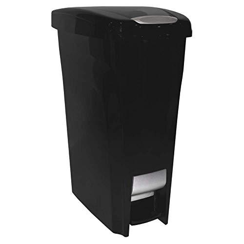 BS Slim Trash Can 43 Liter Kitchen Waste Basket Step Rectangular Garbage Dispenser Plastic Portable Rustproof Kitchen Garage Indoor Waste Management Fits Narrow Spaces & eBook by BADA Shop