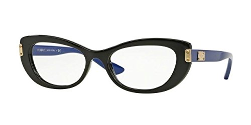Versace VE3223 Eyeglass Frames GB1-53 - Black - Versace Cat Eye Frames