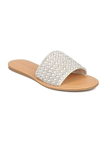 (Wild Diva Women Beads and Rhinestones Open Toe Flat Sandal HA61 - White Mix Media (Size: 7.5))