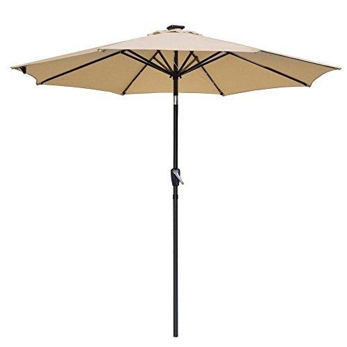 9' Solar Aluminium Outdoor Tilt Patio Umbrella w/ 32 LEDs Tan, Model: AV-07UMB005-9ALLED-01-N, Home/Garden & Outdoor Store