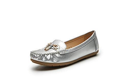 Ladies Slip Ons - Mila Lady Fashion Colorful Causal Slip on Loafers Moccasin Walking Driving Indoor Flat Shoes for Women, Allison Silver Size 7.5
