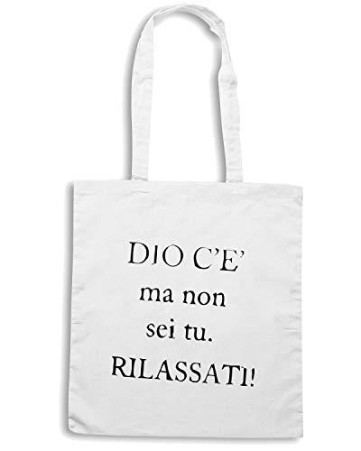 Speed Shirt Borsa Shopper Bianca TDM00056 DIO C E MA NON SEI TU RILASSATI