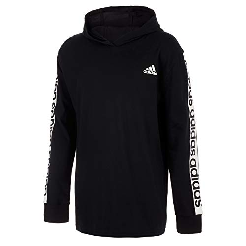 adidas Boys' Long Sleeve Cotton Jersey Hooded T-Shirt Tee