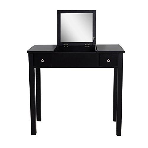 Organizedlife black dressing table vanity with mirror for Black vanity desk with mirror